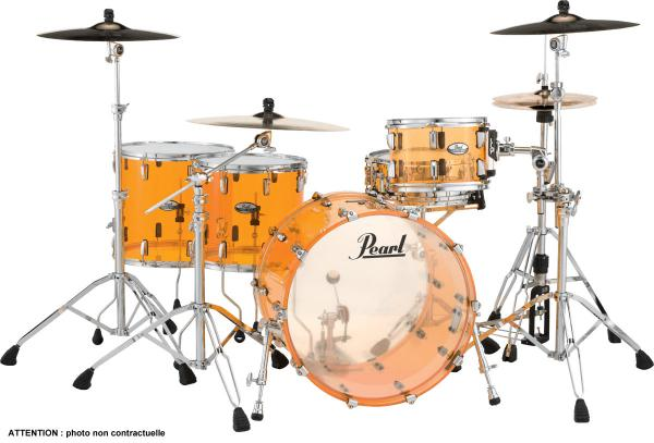 Batterie acoustique rock Pearl CRB524FPC-732 Crystal Beat 2TB Rock 22 - 4 fûts - Tangerine glass