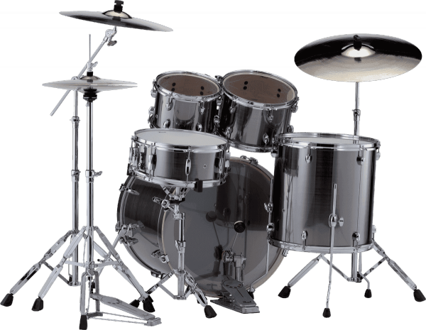 Batterie acoustique rock Pearl Export Rock 22 - 5 fûts - Smokey chrome