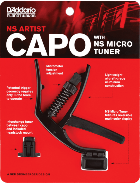 Capodastre & fatfinger Planet waves NS Artist Capo with NS Micro Headstock Tuner