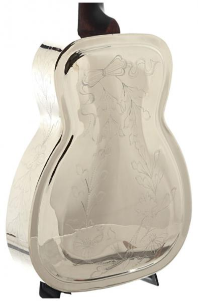 Dobro resonateur Recording king SO-998-EF Style-0 Metal Body Resonator - engraved flower pattern