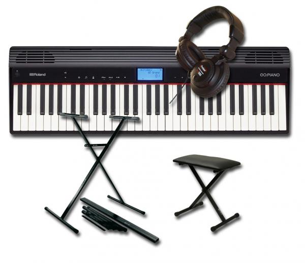 Pack clavier Roland GO:Piano 61P + STAND + BANQUETTE + CASQUE