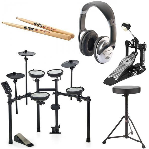 Kit batterie électronique Roland TD-1DMK + PEDALE STAGG PP-52 + SIEGE STAGG DT22 + CASQUE STAGG SHP 2300H + BAGUETTES VIC FIRTH
