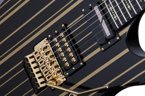 Guitare électrique solid body Schecter Synyster Custom-S - black w/ gold stripes