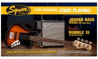 Pack basse electrique Squier Jaguar Bass Special SS Short Scale with Fender Rumble 15 Set - Brown sunburst