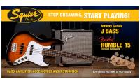 Pack basse electrique Squier Jazz Bass Affinity with Fender Rumble 15 Set - Brown sunburst