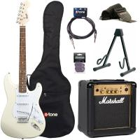 Pack guitare électrique Squier Strat Bullet SSS + Marshall MG10G + access X-Tone - Arctic white