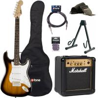 Pack guitare électrique Squier Strat Bullet SSS + Marshall MG10G + access X-Tone - Brown sunburst