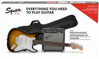 Pack guitare électrique Squier Stratocaster Pack 2018 - Brown sunburst