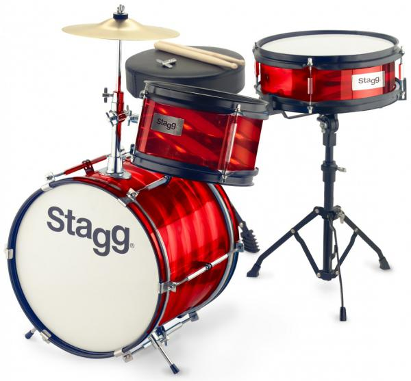 Batterie acoustique junior Stagg Batterie Junior 3/12B + Hardware - 3 fûts - Rouge