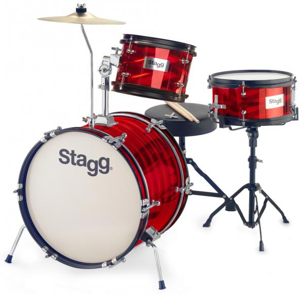 Batterie acoustique junior Stagg Batterie Junior 3/16B + Hardware - 3 fûts - Rouge