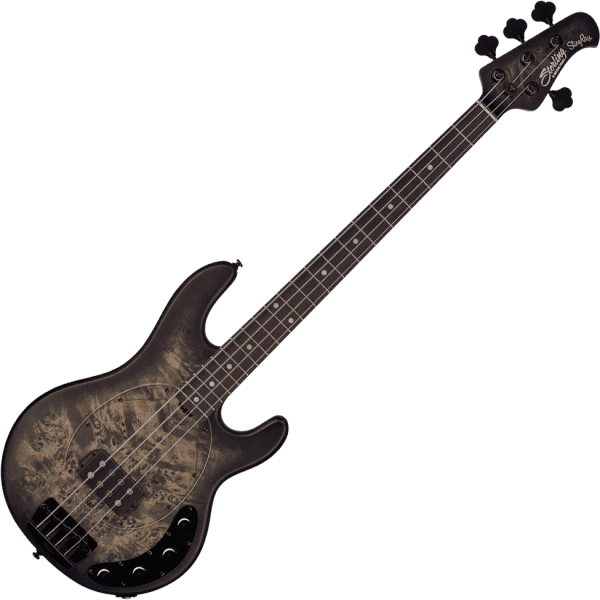 Basse électrique solid body Sterling by musicman Stingray Ray34PB (RW) - Trans black satin