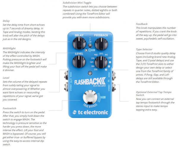 Pédale reverb / delay / echo Tc electronic Flashback 2 Delay