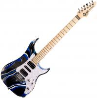 Guitare électrique solid body Vigier                         Excalibur SupraA (MN) - Rock art blue white black