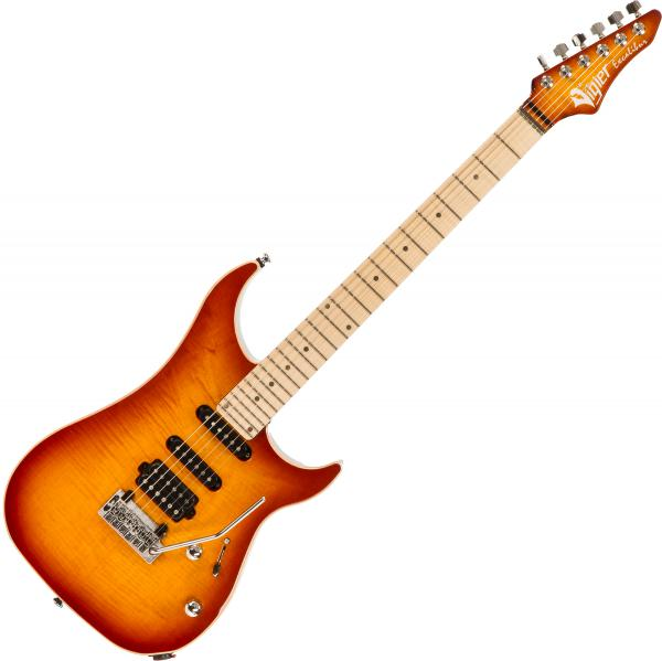Guitare électrique solid body Vigier                         Excalibur Ultra Blues (HSS, Trem, MN) +Case - Amber
