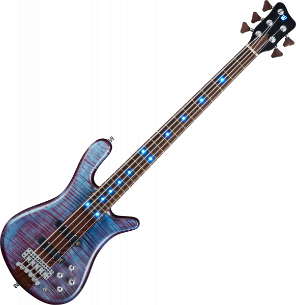 Basse électrique solid body Warwick Custom Shop Streamer Stage I 5-String LED - Midnight blue