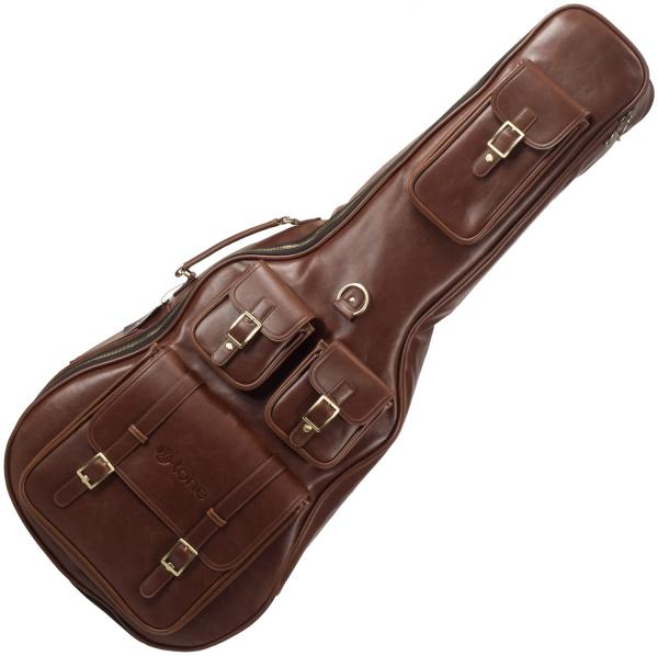 Housse guitare folk X-tone 2065 Deluxe Leather Acoustic Dreadnought Guitar Bag - Brown