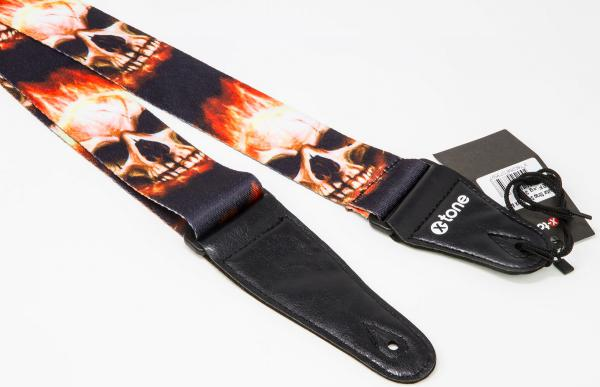 Sangle courroie X-tone XG 3101 Nylon Guitar Strap Skull With Flame - Black & Red