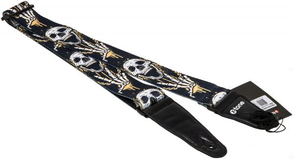 Sangle courroie X-tone XG 3102 Nylon Guitar Strap Skull Laughing - Black & Yellow