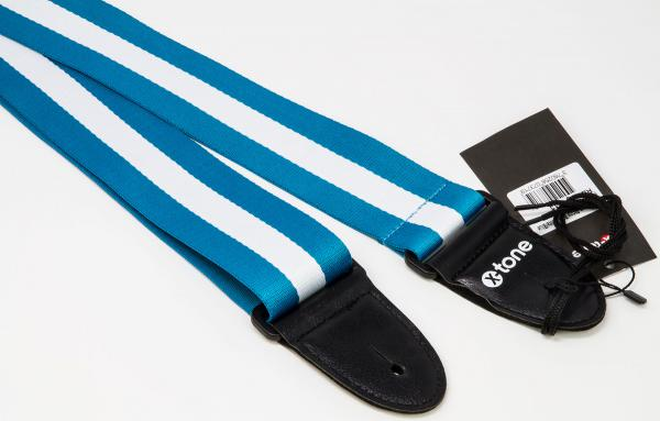 Sangle courroie X-tone XG 3113 Nylon Guitar Strap Stripe - Blue & White