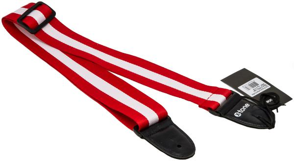 Courroie sangle X-tone XG 3114 Nylon Guitar Strap Stripe - Red & White