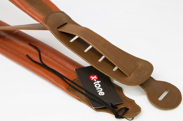 Sangle courroie X-tone XG 3158 Leather Guitar Strap - Brown & Light Brown