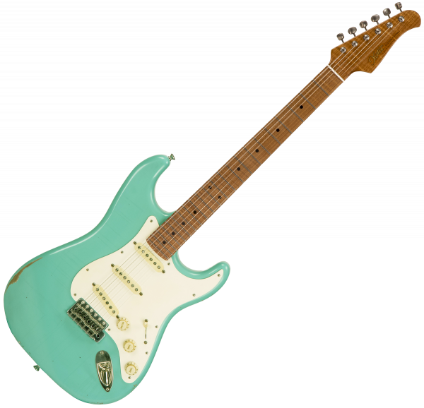 Guitare électrique solid body Xotic California Classic XSC-1 Alder - Medium aging seafoam green
