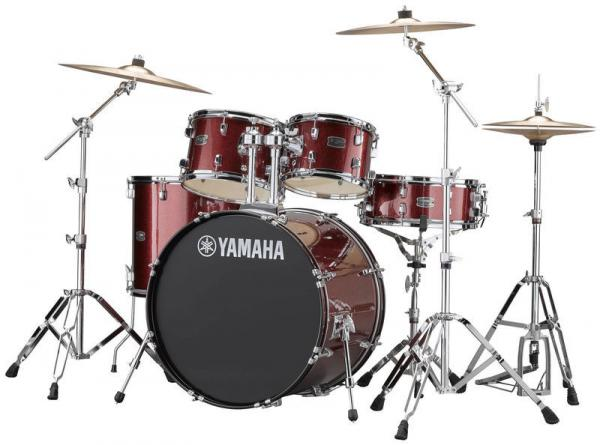 Batterie acoustique fusion Yamaha Rydeen Stage 22 + Cymbales - 4 fûts - burgundy glitter